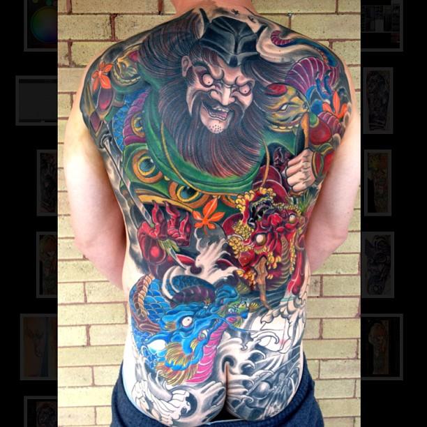 Japanese style back piece blackwood tattoo studio for Black wood tattoo