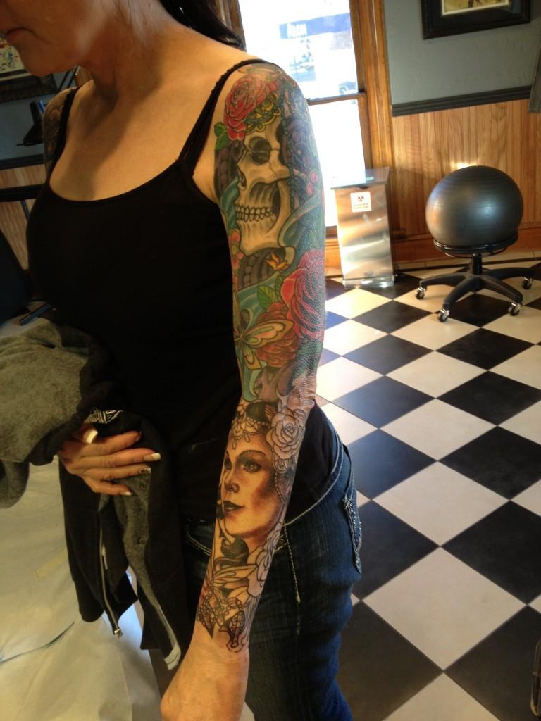 Feminine skull and woman sleeve tattoo blackwood tattoo for Black wood tattoo